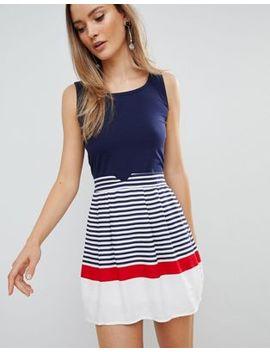 Zibi London Skater Dress With Striped Skirt by Dress