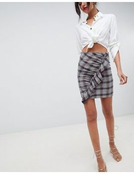 Vila Check Ruffle Mini Skirt by Vila