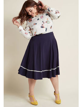 Just This Sway Trimmed Midi Skirt In Navy Stripe In 1 X Just This Sway Trimmed Midi Skirt In Navy Stripe In 1 X by Modcloth