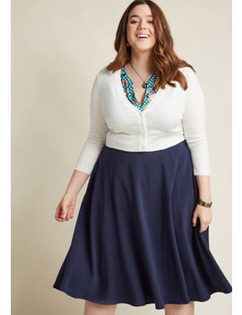Just This Sway Midi Skirt In Navy Just This Sway Midi Skirt In Navy by Modcloth