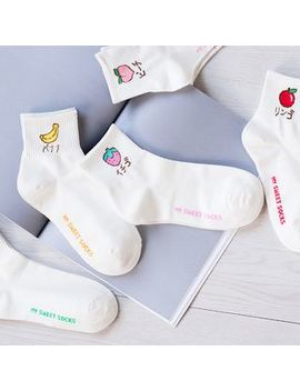 Fruit Embroidered Socks by Miss Buchen