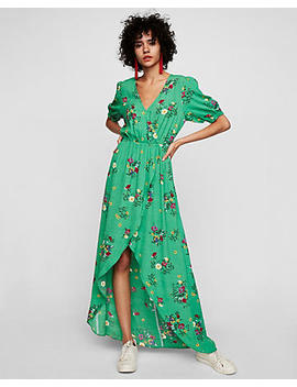 Floral Wrap Front Ruffle Maxi Dress by Express