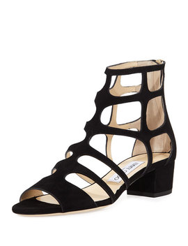 Ren Suede Caged 35mm Sandal by Jimmy Choo