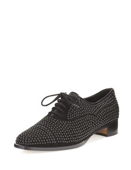 Perlita Studded Suede Oxford, Black by Manolo Blahnik