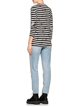Floral & Striped Cotton T Shirt by Proenza Schouler