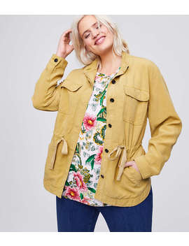 Loft Plus Tie Waist Shirt Jacket by Loft