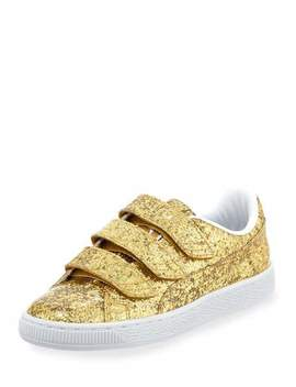 Three Strap Glittered Low Top Sneaker, Gold by Puma
