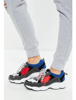 Blue Contrast Lace Chunky Sole Trainer by Missguided