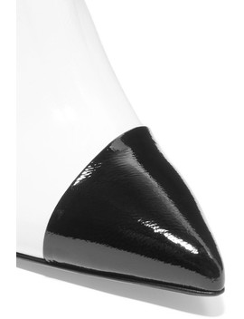 Liam Two Tone Crinkled Patent Leather Mules by Tibi