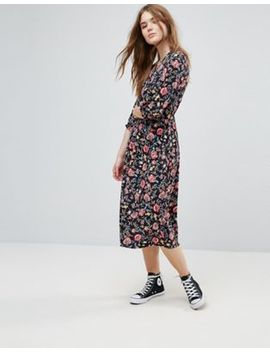 Influence Three Quarter Sleeve Floral Midi Dress by Midi Dress
