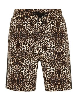 Leopard Print Taping Jersey Shorts by Topman