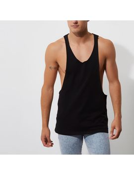 Black Dropped Armhole Relaxed Fit Tank by River Island
