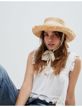 Asos Design Natural Raw Edge Straw Hat With Chin Tie And Size Adjuster by Asos Design