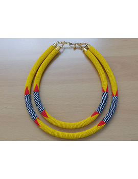 Multi Strand/ Double Strand Traditional Zulu Necklace/Maasai Beaded Neckpiece/Statement Neckpiece/Glass Beaded Modern Piece by Etsy