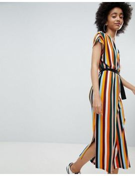 Bershka Stripe Midi Dress In Orange by Bershka