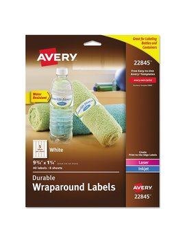 Avery Durable Waterproof Wraparound Water Bottle Labels, 1 1/4 X 9 3/4 Inches, Pack Of 40 (22845) by Avery