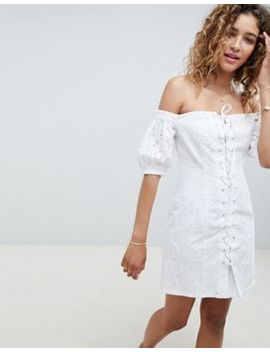 Asos Design Lace Up Broderie Off Shoulder Mini Sundress by Asos Design
