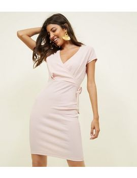 Pale Pink Ribbed Wrap Front Bodycn Dress by New Look