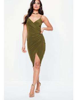 Khaki Strappy Slinky Wrap Bodycon Dress by Missguided