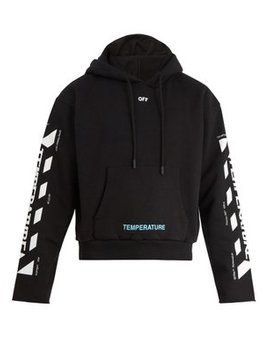 Temperature Hooded Cropped Cotton Sweatshirt by Off White