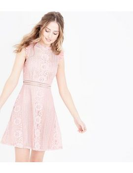 Pink Lace Frill Sleeve Skater Dress by New Look