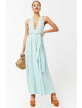 Striped Plunging Maxi Dress by Forever 21