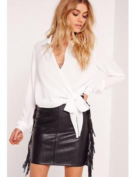 Ivory Wrap Over Tie Side Blouse by Missguided