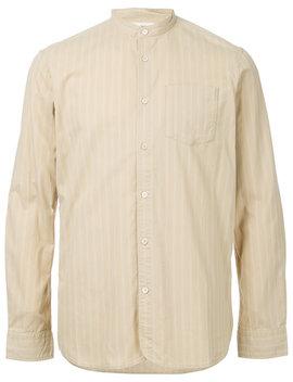Band Collar Striped Shirthome Men Clothing Shirts by