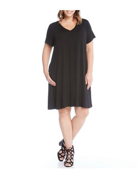 Plus Quinn V Neck Pocket Dress by Karen Kane
