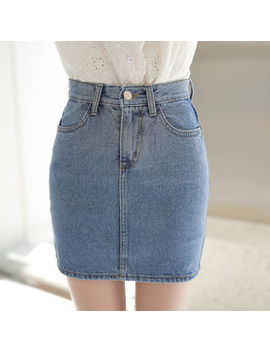 Zip Front Washed Denim Pencil Skirt by My Fiona