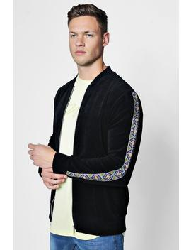 Velour Bomber With Aztec Trim by Boohoo