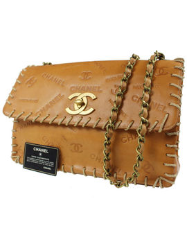 Chanel Limited Edition Shoulder Bag Brown Tanned Leather Rare Authentic #D572 M by Chanel