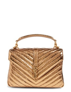 Medium College Crackle Metallic Leather Shoulder Bag by Saint Laurent