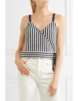 Chloe Striped Cotton Blend Wrap Top by Madewell
