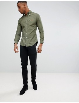 Polo Ralph Lauren Slim Fit Garment Dyed Shirt Polo Player In Green by Polo Ralph Lauren