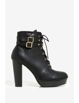 Buckle Mixed Bootie by A'gaci