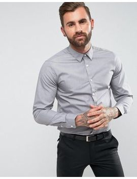 New Look Poplin Shirt In Regular Fit In Light Gray by New Look