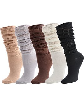 Kilofly 5 Pairs Women's Lightweight Fashion Fitness Gym Slouch Knit Crew Socks by Amazon
