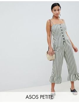 Asos Design Petite Cotton Frill Hem Jumpsuit With Square Neck And Button Detail In Stripe by Asos Design