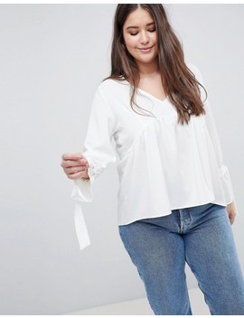 Boohoo Plus Tie Cuff Smock Blouse by Boohoo