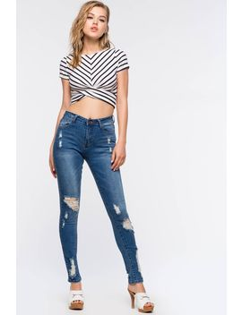 Luna High Waist Denim Jean by A'gaci