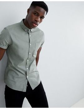Asos Design Casual Slim Oxford Shirt In Green by Asos Design