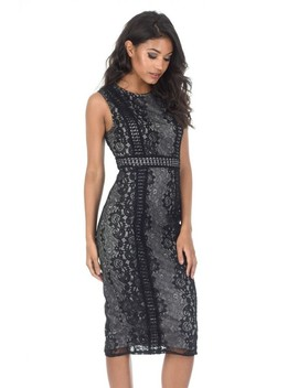 Black And Grey Lace Midi Dress by Ax Paris