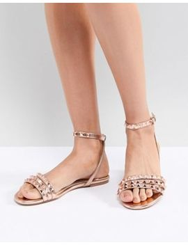 Faith Pyramid Rose Gold Stud Flat Sandals by Faith