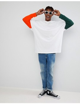 Asos Extreme Oversized Super Longline Long Sleeve T Shirt With Mis Match Sleeves In White by Asos