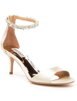 Geranium Satin Rhinestone Ankle Strap Dress Sandals by Badgley Mischka