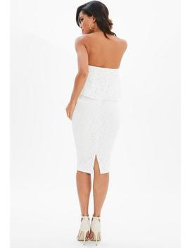 White Lace Bandeau Frill Midi Dress by Missguided