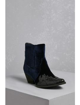 Very Volatile Velvet Contrast Boots by Forever 21
