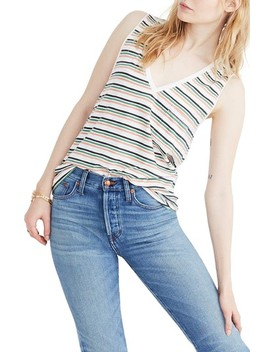 Whisper Cotton Stripe V Neck Pocket Tank by Madewell