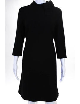 Goat Black Wool Zip Up Bow Crew Neck Long Sleeve Knee Length Dress Size 10 by Goat